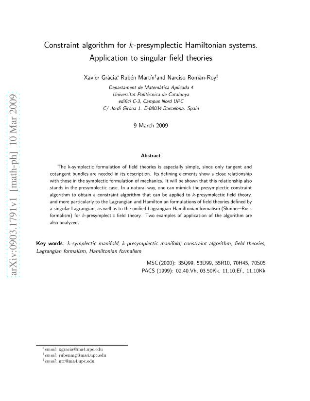 Xavier Gracia - Constraint algorithm for k-presymplectic Hamiltonian systems. Application to singular field theories