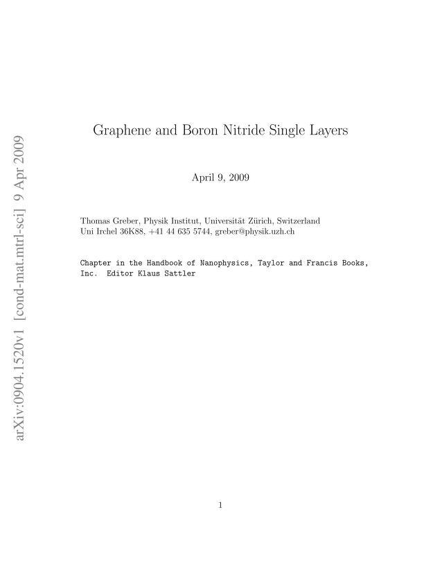 Thomas Greber - Graphene and Boron Nitride Single Layers