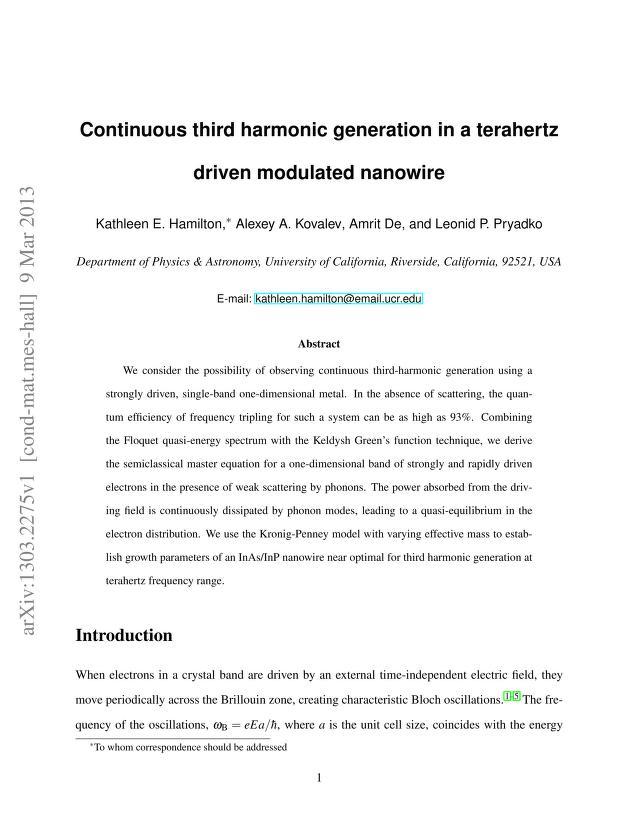 Kathleen E. Hamilton - Continuous third harmonic generation in a terahertz driven modulated nanowire