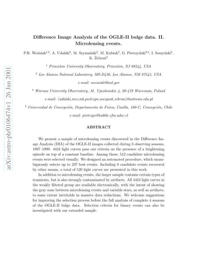 P. R. Wozniak - Difference Image Analysis of the OGLE-II bulge data. II. Microlensing events
