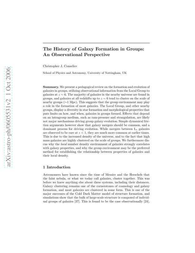 Christopher J. Conselice - The History of Galaxy Formation in Groups: An Observational Perspective