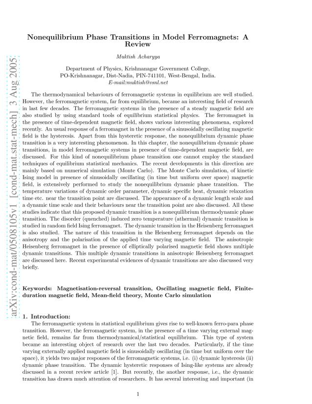 Muktish Acharyya - Nonequilibrium Phase Transitions in Model Ferromagnets: A Review