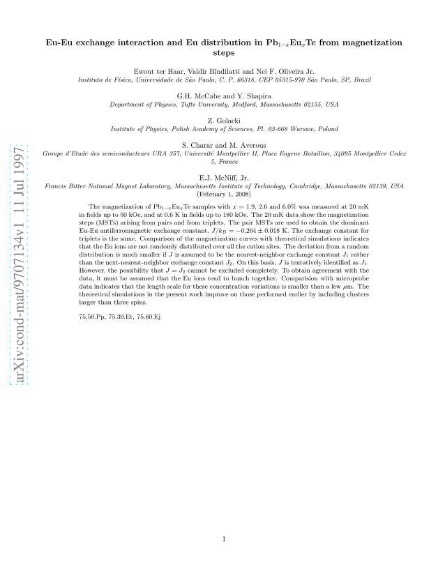 Ewout ter Haar - Eu-Eu exchange interaction and Eu distribution in Pb_(1-x)Eu_(x)Te from magnetization steps