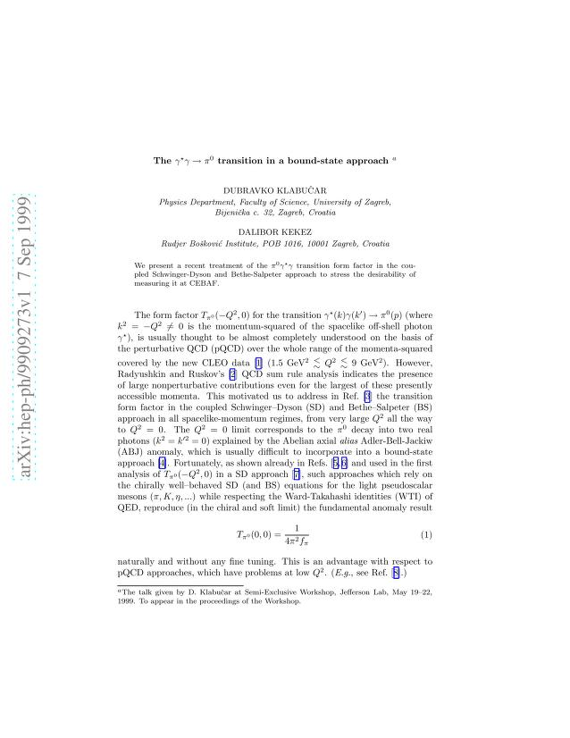 Dubravko Klabucar - The gamma^* gamma -> pi^0 transition in a bound-state approach